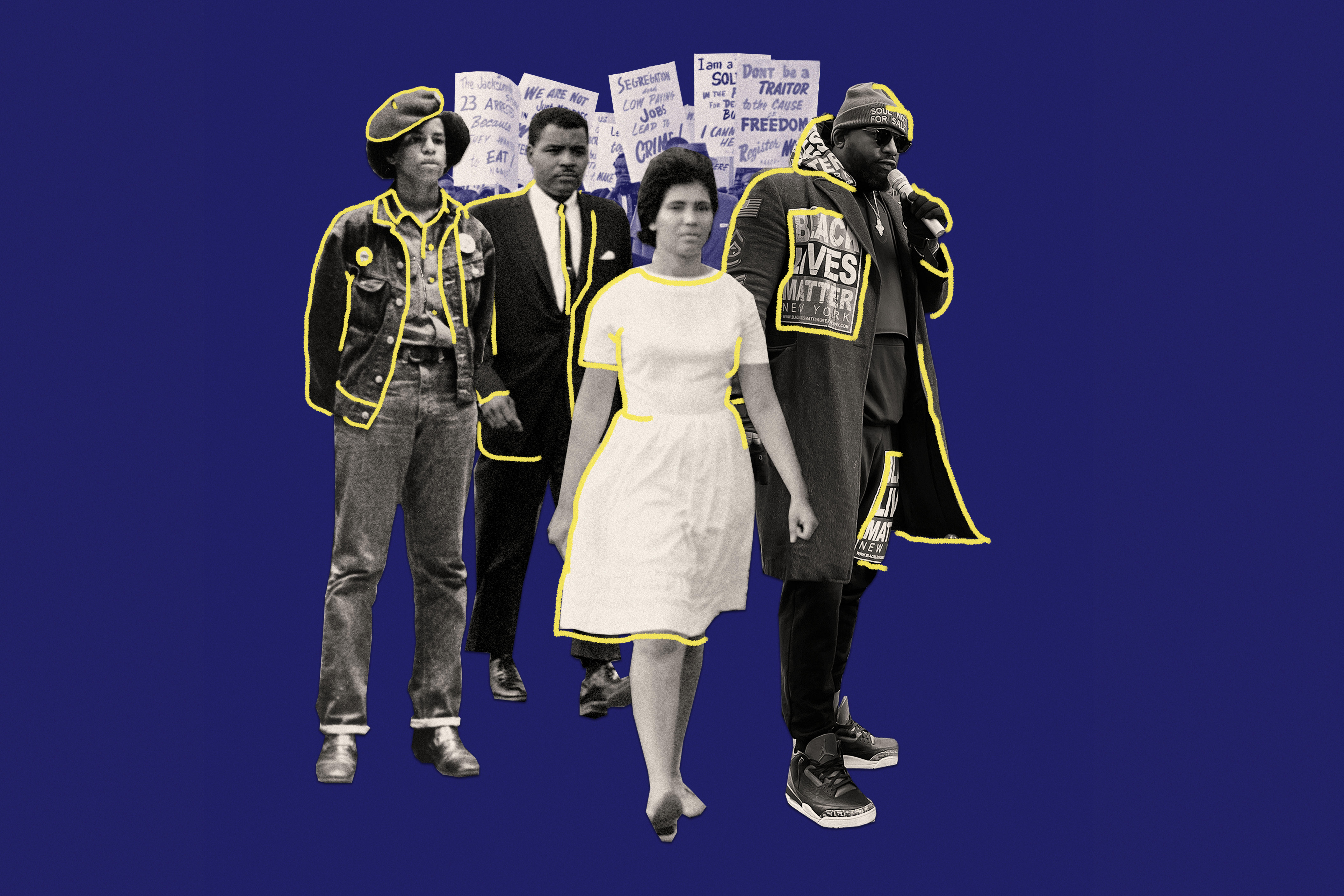 From the suits of the Civil Rights movement of the '50s and '60s, to the power uniform of the Black Panther era in the '70s and the statement Ts that have outfitted today's Black Lives Matter protests, these moments have marked the intersection of fashion, politics and justice.