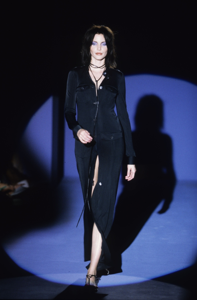 Long-sleeve black silk button-up dress with pockets and slit from Gucci's Spring/Summer 1996 collection by Tom Ford