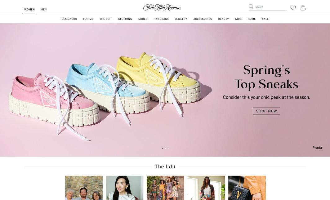 The saks.com women's homepage.