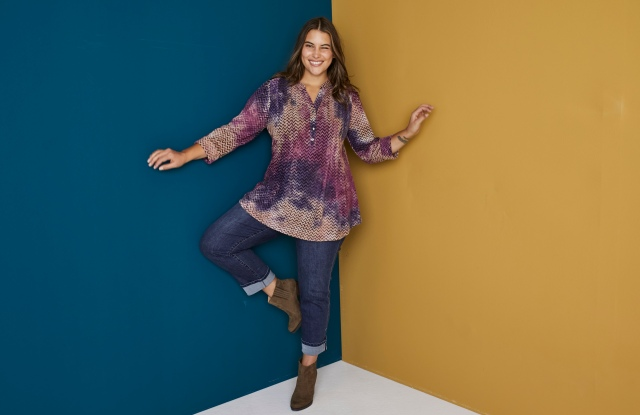 Key to the Dressbarn assortment: jeans and tie-dyed styles.