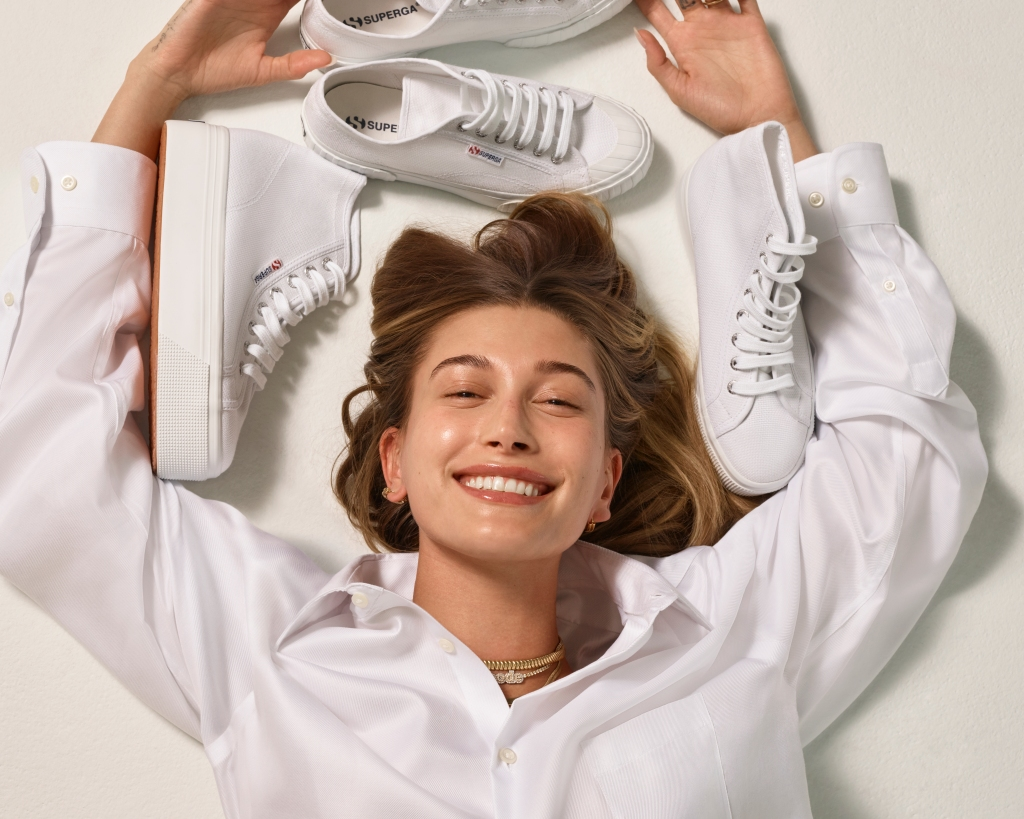 Superga's newly named global ambassador Hailey Bieber starring in the brand's spring 2021 ad campaign.