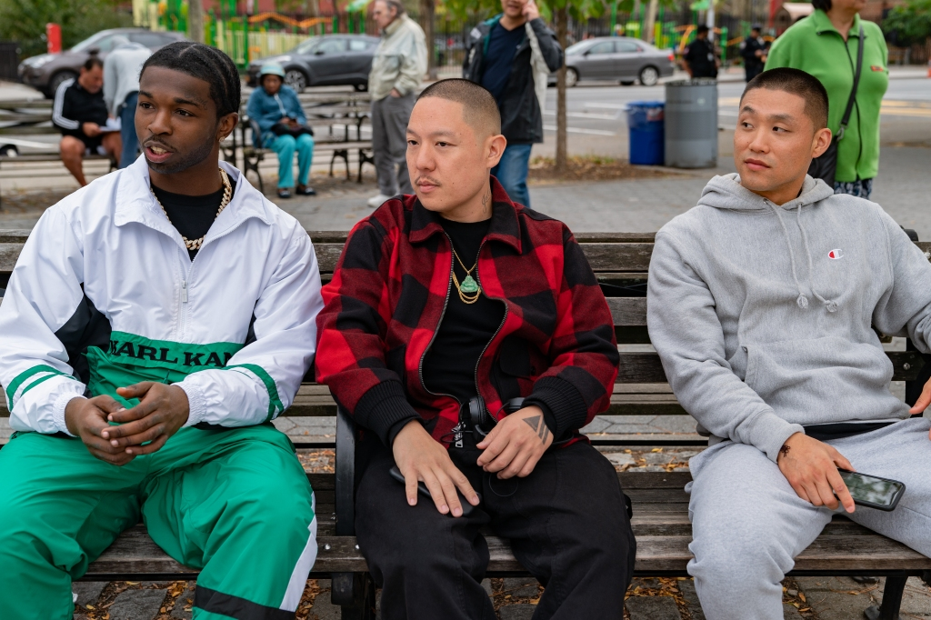 """Actor Pop Smoke, director Eddie Huang and actor Taylor Takahashi on the set of their film """"Boogie."""""""