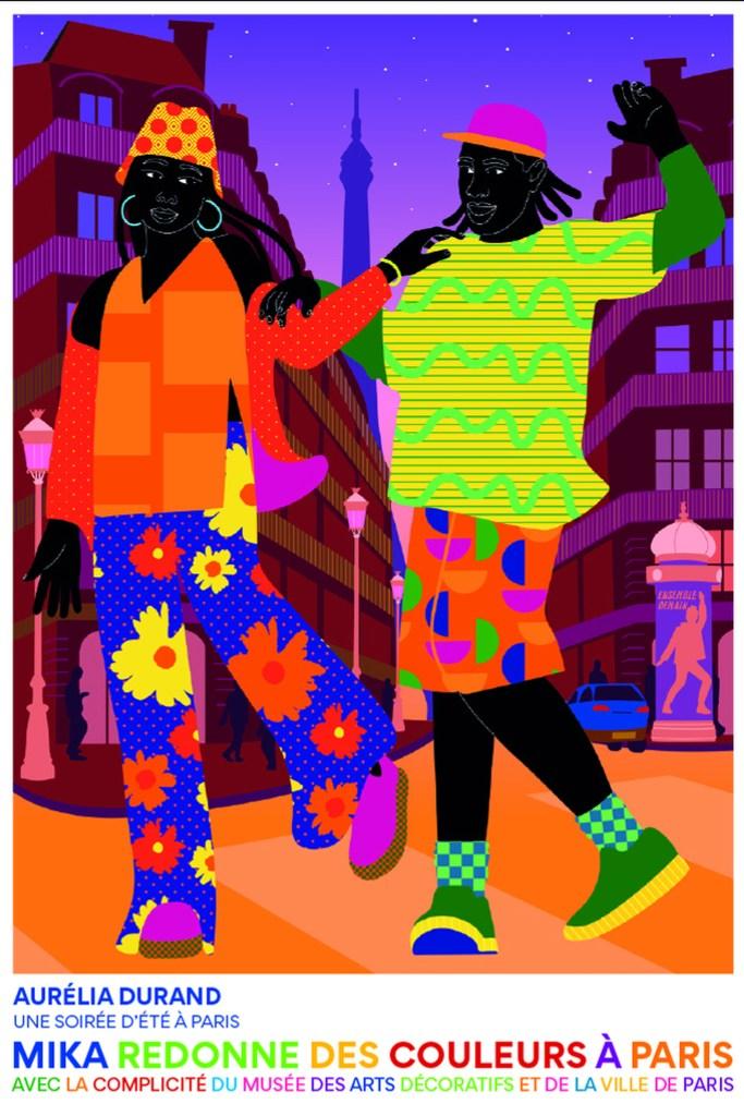 A poster by Aurélia Durand for Mika's collaboration with the Musée des Arts Décoratifs.