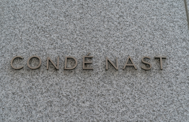 View of logo of Conde Nast company on the wall of Freedom Tower at WTC where it has headquarters in New York on August 6, 2020. Company is looking to terminate it lease because lots of employees work from home and possibly will not return to the office. (Photo by Lev Radin/Sipa USA)(Sipa via AP Images)