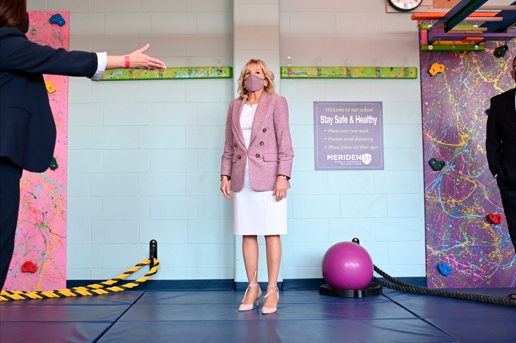 First lady Jill Biden tours Benjamin Franklin Elementary School.