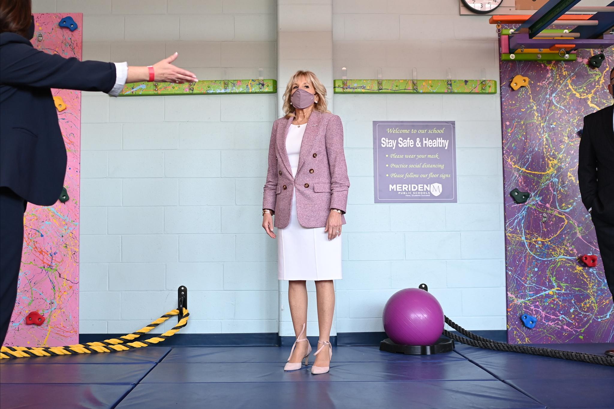 First lady Jill Biden tours Benjamin Franklin Elementary School.