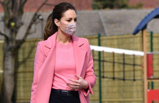 Britain's Kate, Duchess of Cambridge, with Prince William, visits School21, a school in east London, Thursday March 11, 2021. (Justin Tallis/Pool via AP)