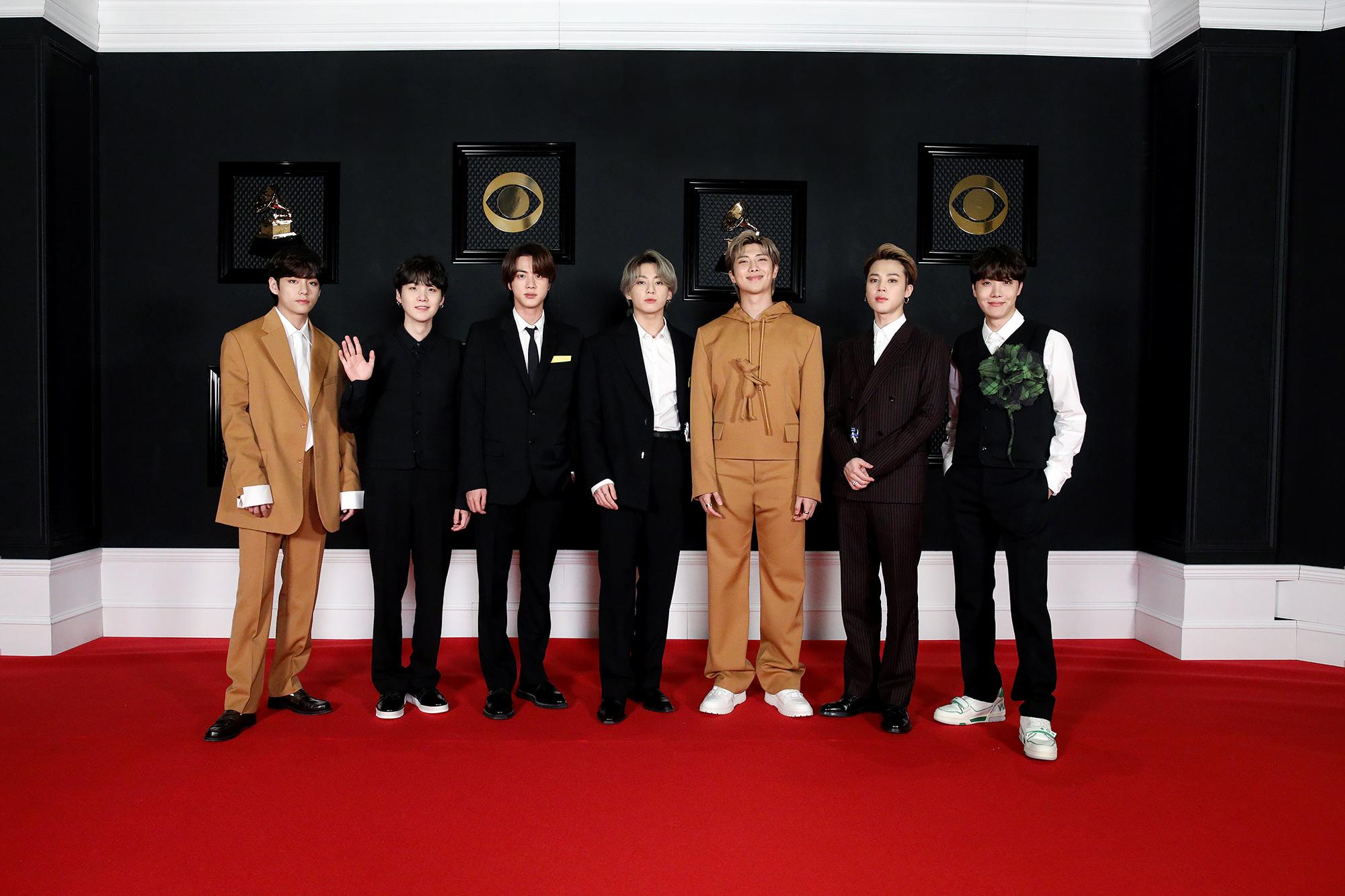 BTS in Louis Vuitton at the 2021 Grammy Awards.