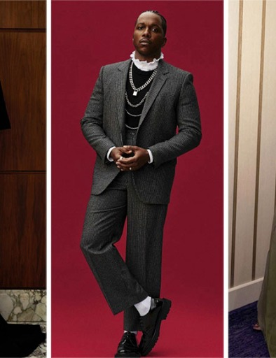 From left: Maria Bakalova in Prada, Leslie Odom Jr in Celine, and Leslie Odom Jr in Celine