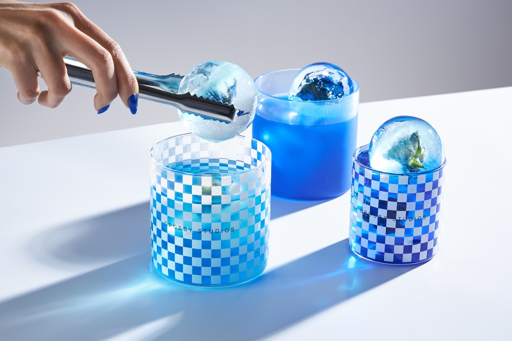 Pastries and drinks alike come tinged royal blue.