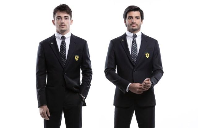 Scuderia Ferrari's drivers Charles Leclerc and Carlos Sainz in the new formal attire.