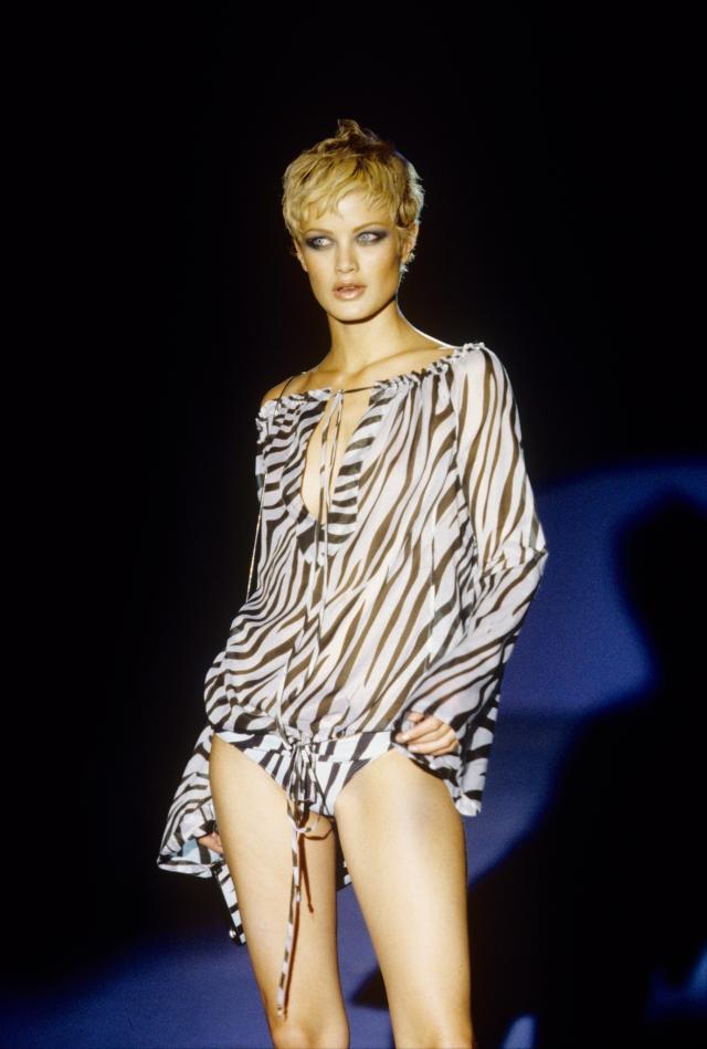 Zebra-print, see-through blouse and matching bikini bottom from Gucci's Spring/Summer 1996 collection by Tom Ford
