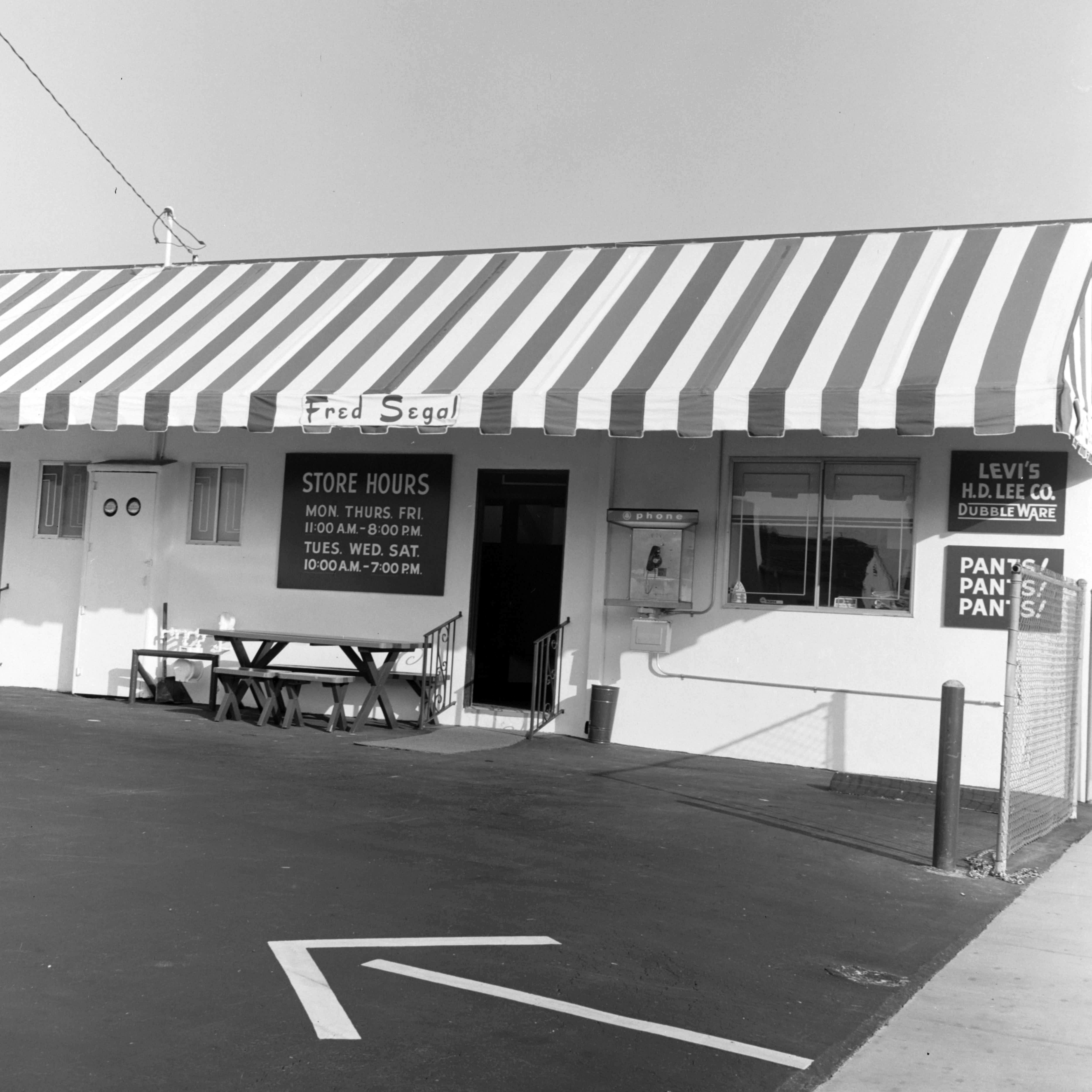 Fred Segal 8100 Melrose Avenue storefront on October 22, 1968 in Los Angeles.