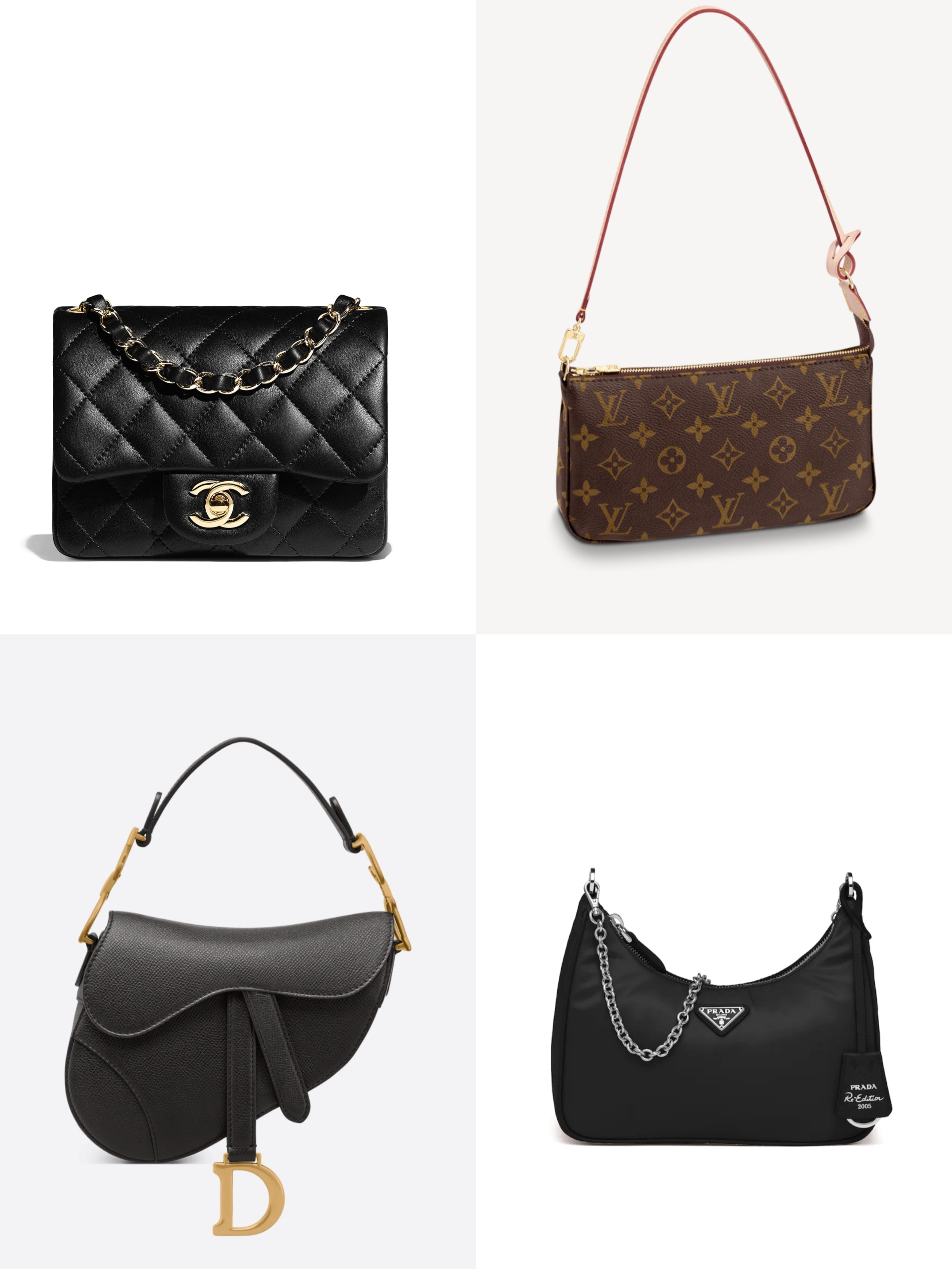 Chanel's Mini Square Classic Flap, Louis Vuitton's Pochette Accessories, Dior's Mini Saddle, and Prada's Re-Edition 2005 are among some of the bags with the highest price hikes in China throughout 2020.