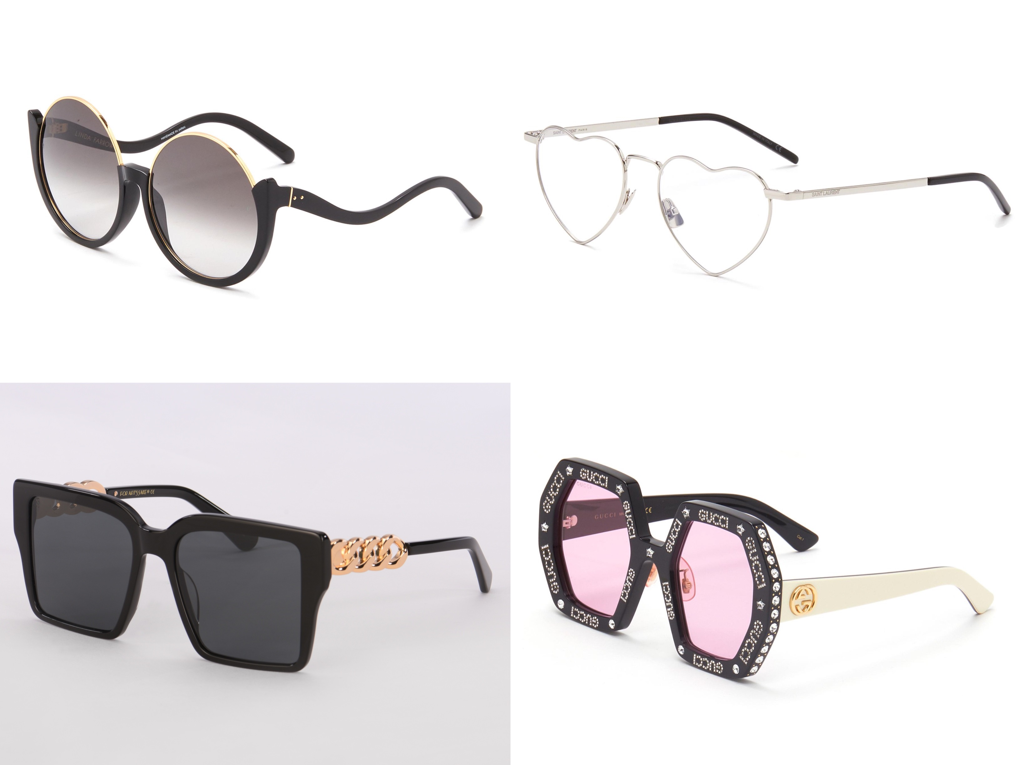 Eyewear styles from Linda Farrow, Saint Laurent, For Art's Sake, and Gucci.