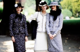 Models pose in looks from Chanel's fall 1983 couture collection advance. Designer Karl Lagerfeld's second couture collection for the House of Chanel.