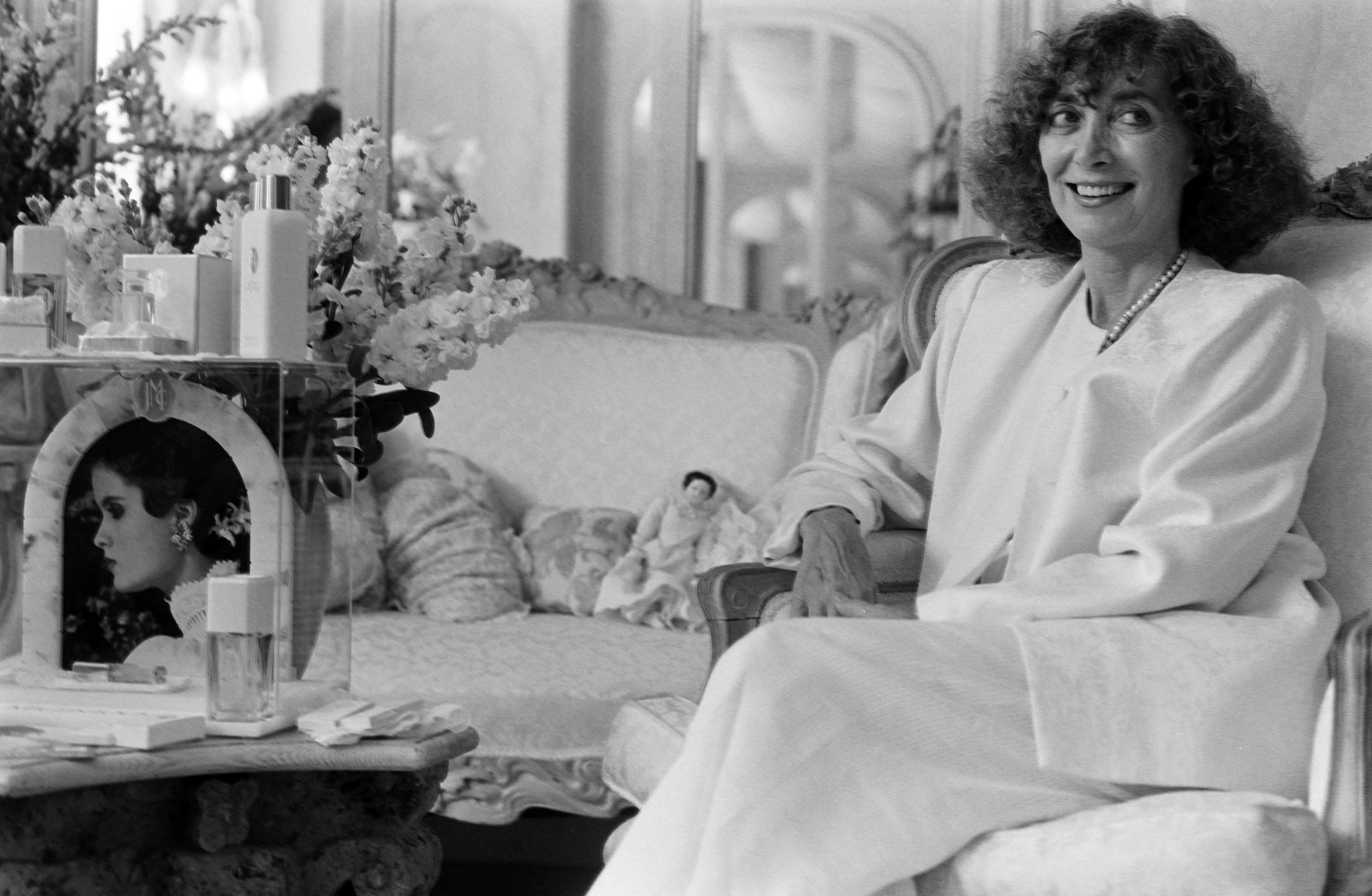 Designer Jessica McClintock in her San Francisco Office on August 8, 1989.