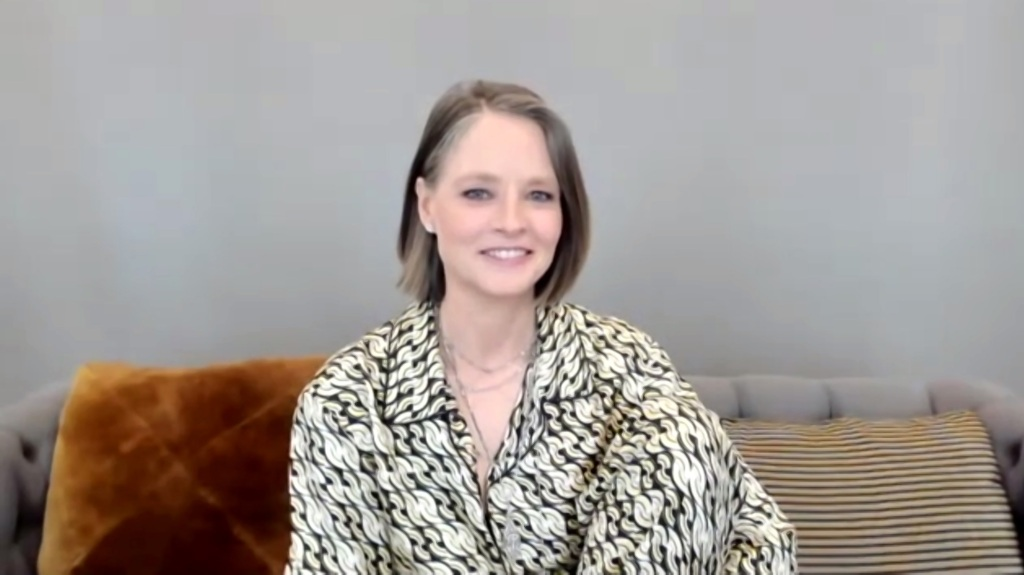 """78th ANNUAL GOLDEN GLOBE AWARDS -- Pictured in this screen grab: Jodie Foster, winner of Best Actress in a Supporting Role in Any Motion Picture for """"The Mauritanian"""", speaks at the 78th Annual Golden Globe Awards on February 28, 2021. -- (Photo by: NBC)"""