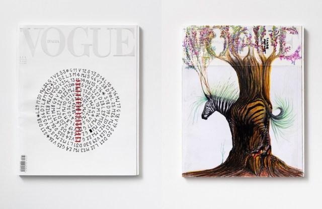 Artworks by Letizia Cariello (left) and Simone Berti (right)