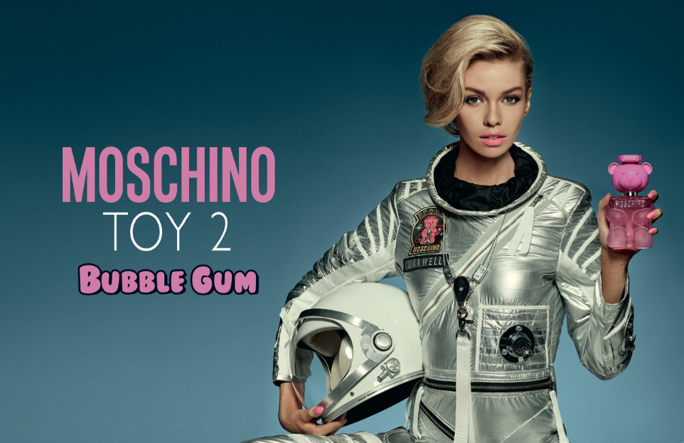 Stella Maxwell in the Moschino Toy 2 Bubble Gum fragrance campaign.