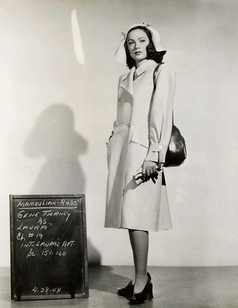 A Bonnie Cashin designed costume for the 1944 film Laura, as shown on actress Gene Tierney.