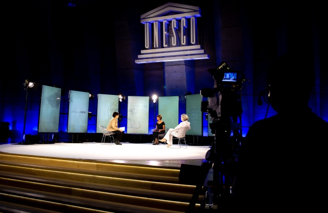 The Women@Dior Dream conference at UNESCO with Emmanuelle Favre, Asha Sumputh and Stefania Giannini.