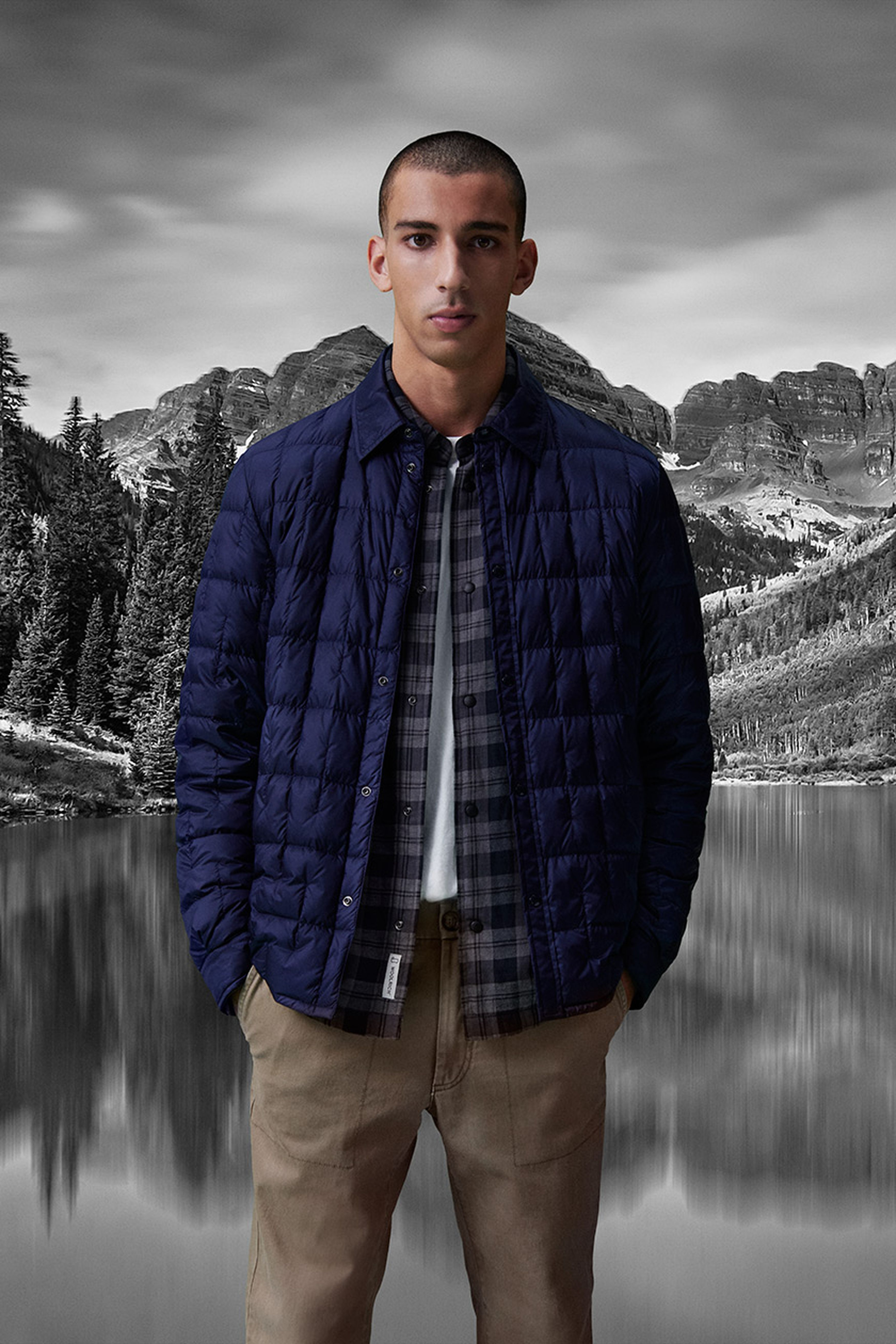 Woolrich nylon overshirt padded with recycled down