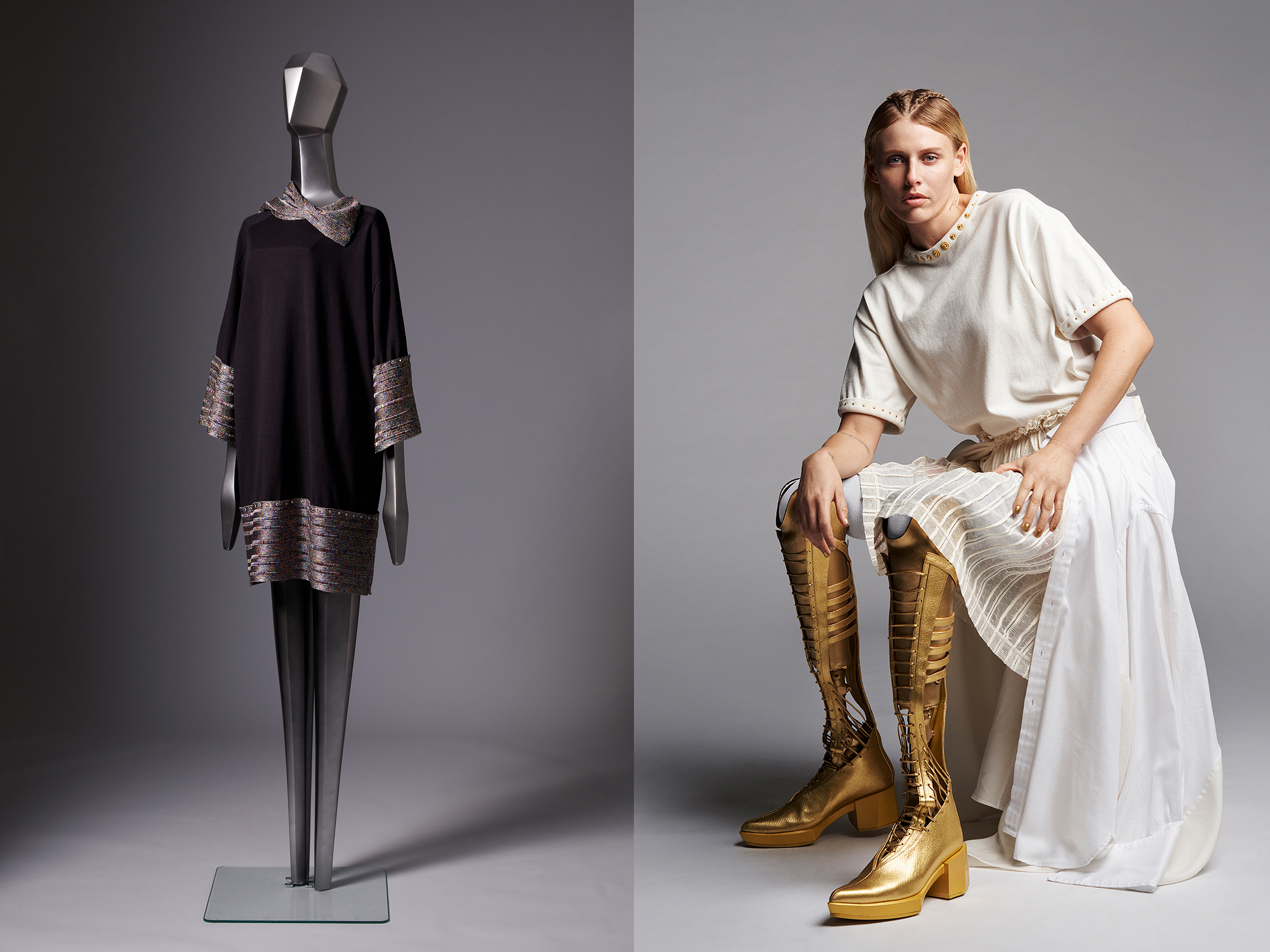 Yuima Nakazato's modular and circular ready-to-wear, on a mannequin and on model Lauren Wasser