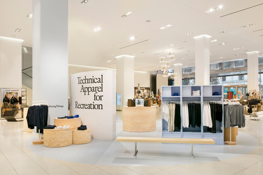 "The Outdoor Voices brands in the ""center stage"" at the Nordstrom flagship in Manhattan."