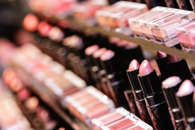Testers of different lipsticks in the cosmetic store