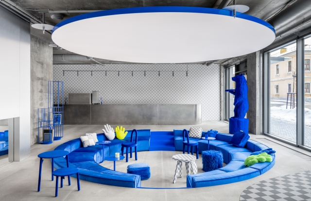 A sunken seating area dominates the new Crosby Studios space.