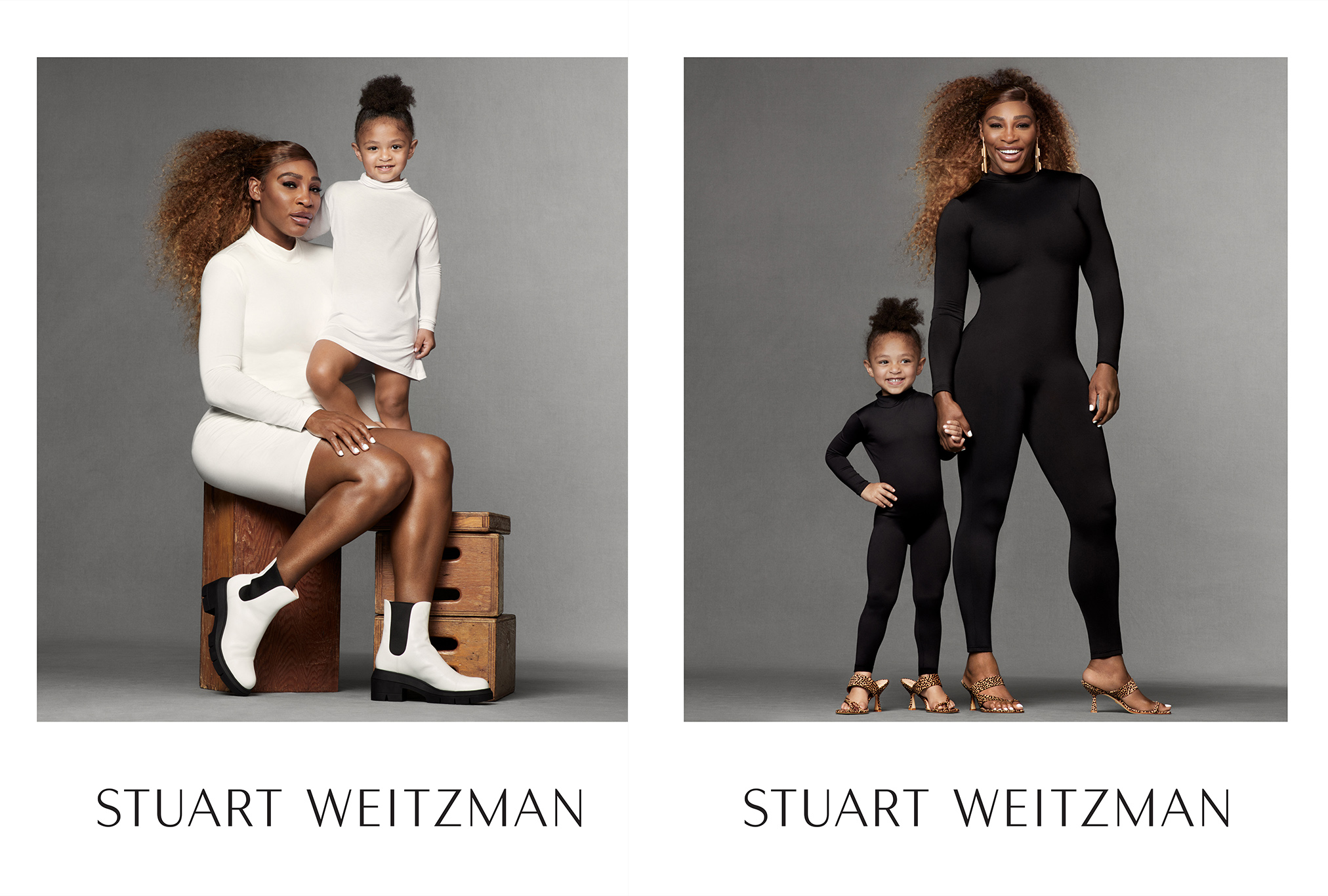 Serena Williams and daughter Olympia in Stuart Weitzman's spring 2021 campaign.