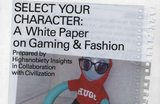 """Cover of Highsnobiety's white paper """"Select Your Character"""""""