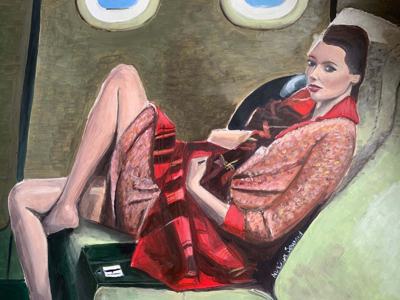 """An oil painting by Vanessa Seward, titled """"Jet Lag,"""" is among the lots being auctioned online to benefit students struggling with poverty."""