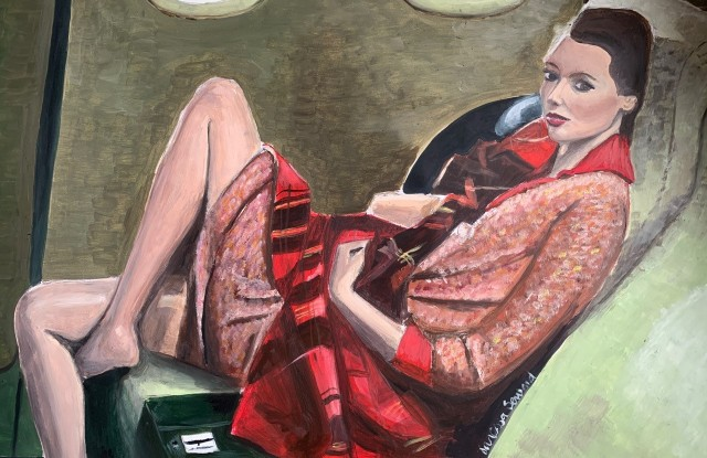"An oil painting by Vanessa Seward, titled ""Jet Lag,"" is among the lots being auctioned online to benefit students struggling with poverty."