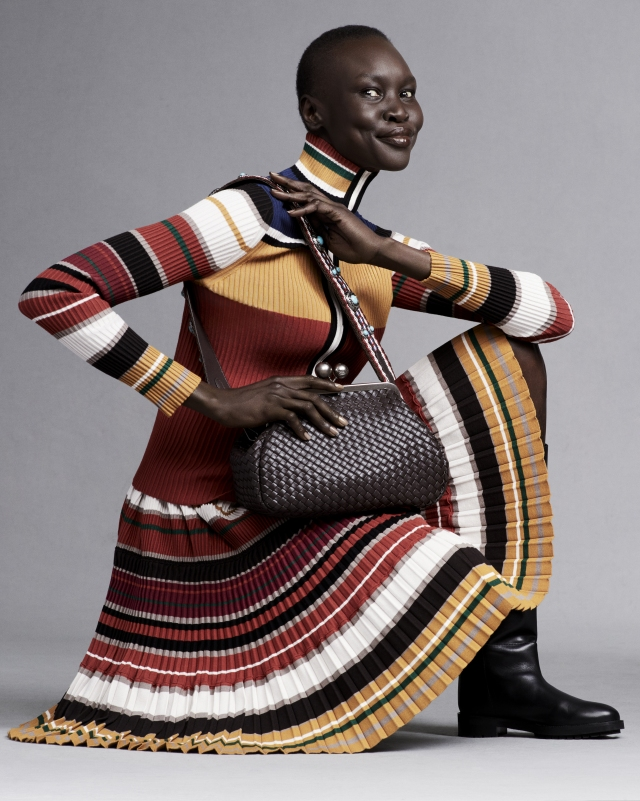 Alek Wek wearing an outfit of the Fall 2021 Signature Capsule she designed for Weekend Max Mara