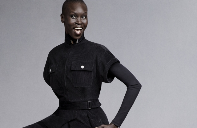 Alek Wek wearing an outfit from the fall 2021 Signature capsule she designed for Weekend Max Mara