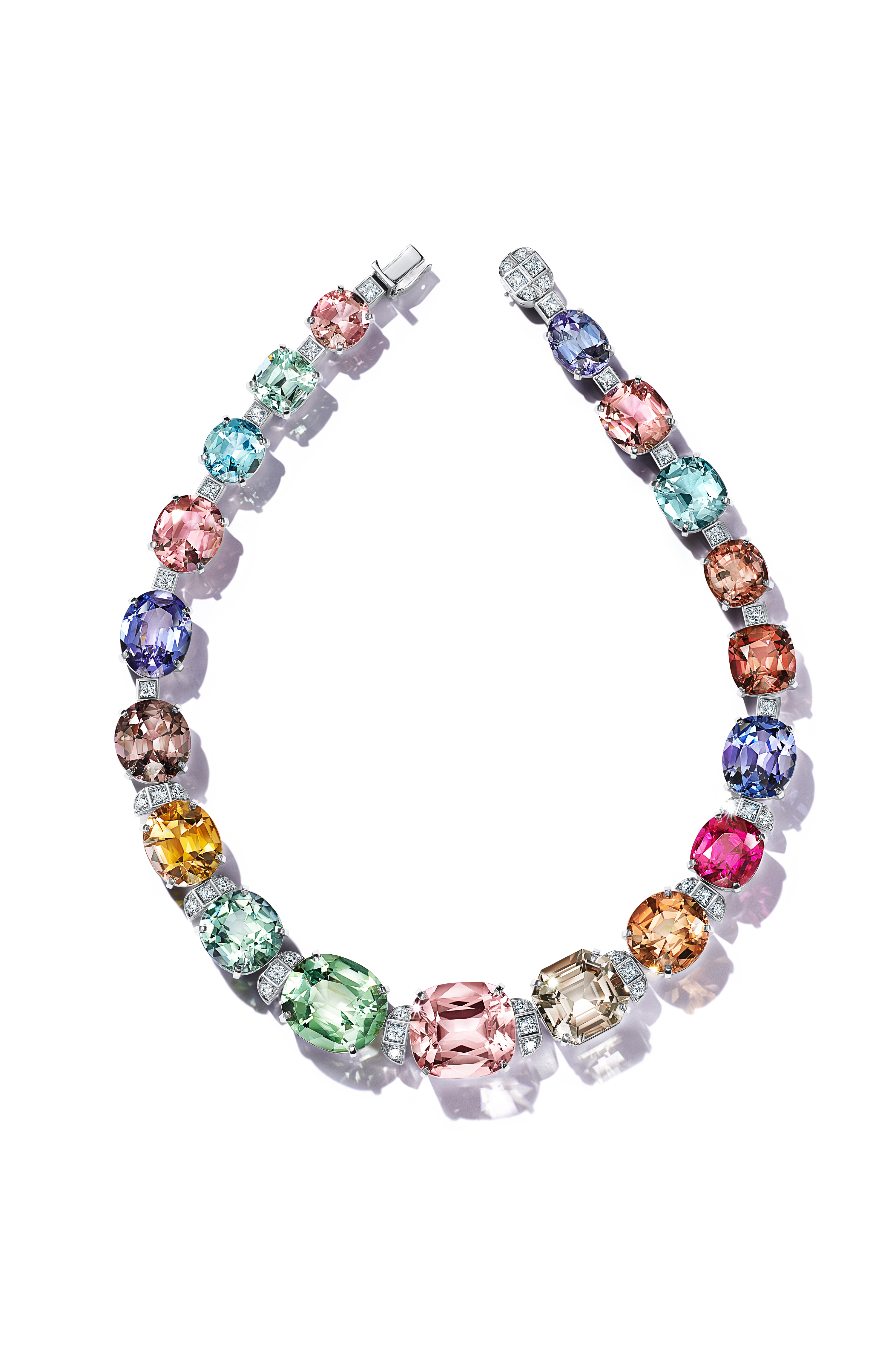 A Tiffany & Co. necklace with aquamarines, tanzanites; pink, orange and green tourmalines; a rubellite, and a morganite.
