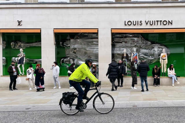 A queue outside the Louis Vuitton store on Bond Street on April 12.