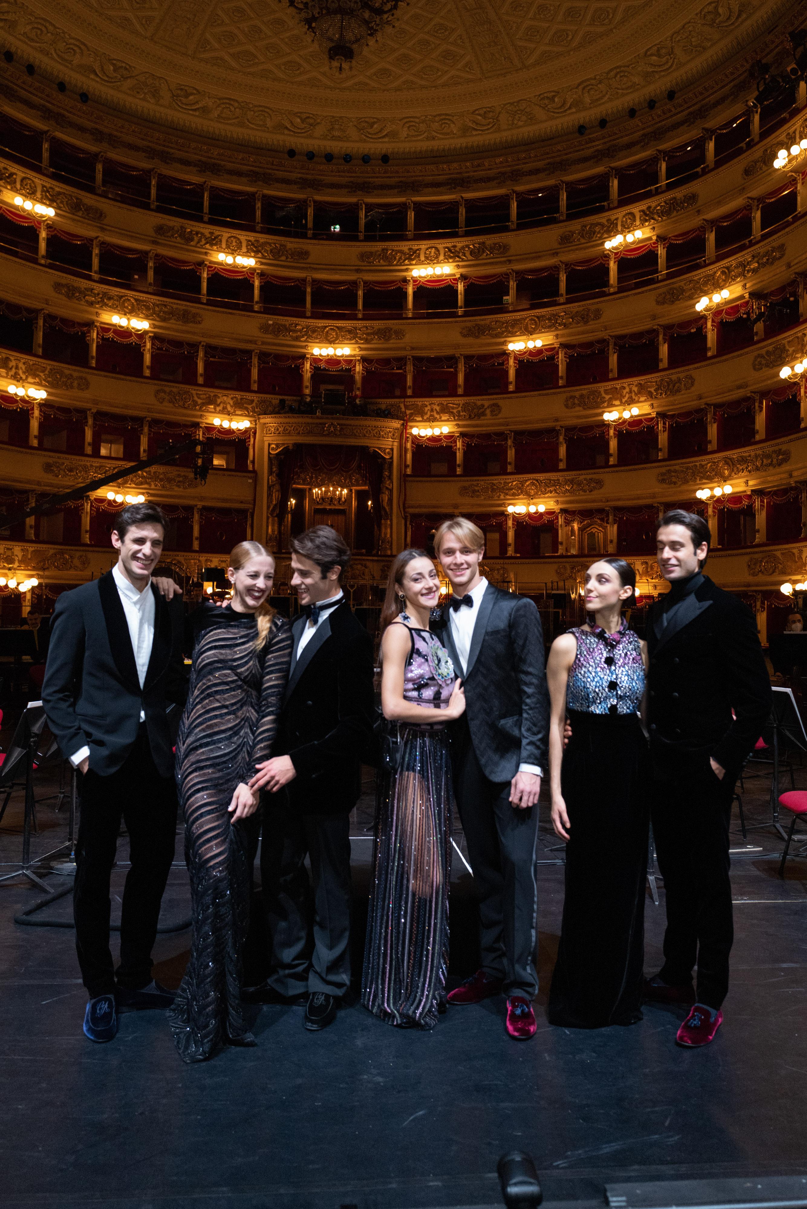 Nicola Del Freo, Virna Toppi, Claudio Coviello, Nicoletta Manni, Timofej Andrijashenko, Martina Arduino, Marco Agostino wearing Armani at La Scala's opera season opening night.