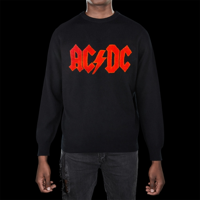 The Heart of Bone red-on-black logo cashmere crewneck part of the AC/DC tribute collection.