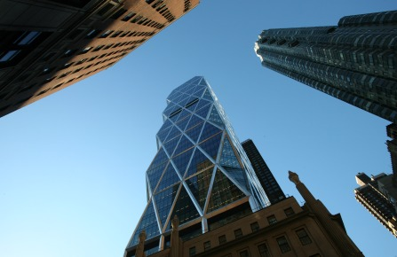 The Hearst Tower, center, is shown on Thursday, Jan. 3, 2008 in New York. The tower, designed by architect Norman Foster and constructed by Turner Construction, is the world headquarters of the Hearst Corporation. (AP Photo/Mark Lennihan)