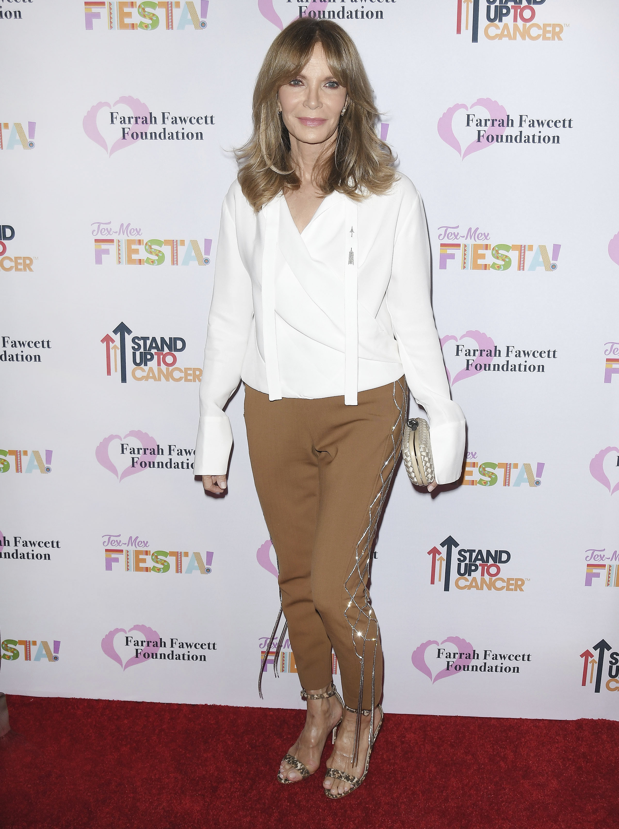 Jaclyn Smith arrives at the Farrah Fawcett Foundation's TEX-MEX FIESTA held at the Wallis Annenberg Center for the Performing Arts in Beverly Hills, CA on Friday, September 6, 2019. (Photo By Sthanlee B. Mirador/Sipa USA)(Sipa via AP Images)