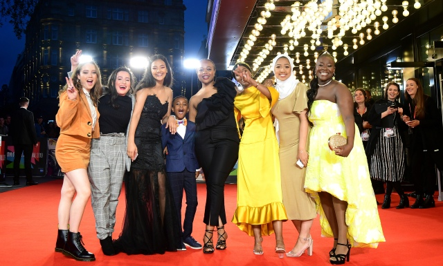 Rocks UK Premiere - BFI London Film Festival 2019. Ruby Stokes, Anastasia Dymitrow, Shaneigha-Monik Greyson, Bukky Bakray, Kosar Ali, Tawheda Begum and Afi Okaidja attending the Rocks Premiere as part of the BFI London Film Festival 2019 held at the Odeon Luxe, London. Picture date: Friday October 11, 2019. Photo credit should read: Ian West/PA Wire URN:46441875 (Press Association via AP Images)
