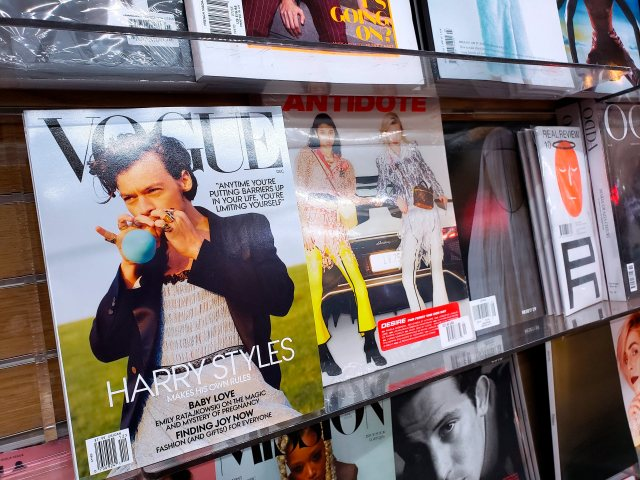 Vogue's december cover with British artist Harry Styles photographed by Tyler Mitchell on local newsstand in New York, NY on November 24, 2020. Harry Styles has become the first solo male cover star of Vogue in the magazine's 128-year history. Photo by Charles Guerin/Abaca/Sipa USA(Sipa via AP Images)