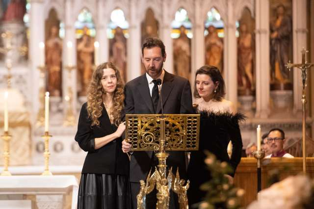 From left: Carla Zampatti's children Bianca Spender, Alexander Schuman and Allegra Spender, reading a eulogy at their mother's funeral.