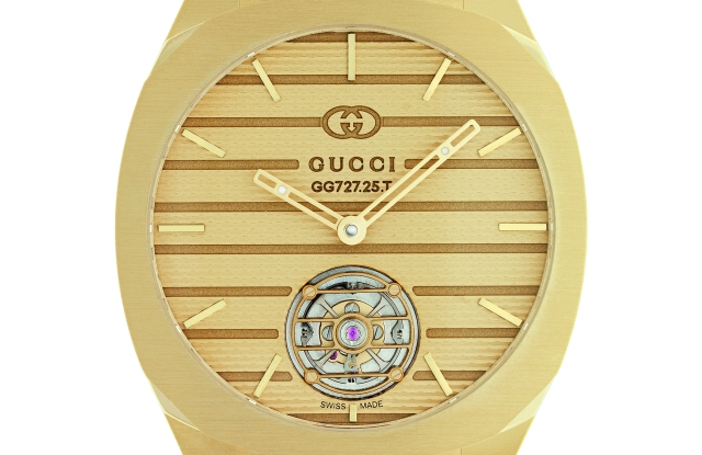The Gucci 25H in 18-karat yellow gold with Gucci GG 727.25 flying tourbillon movement.