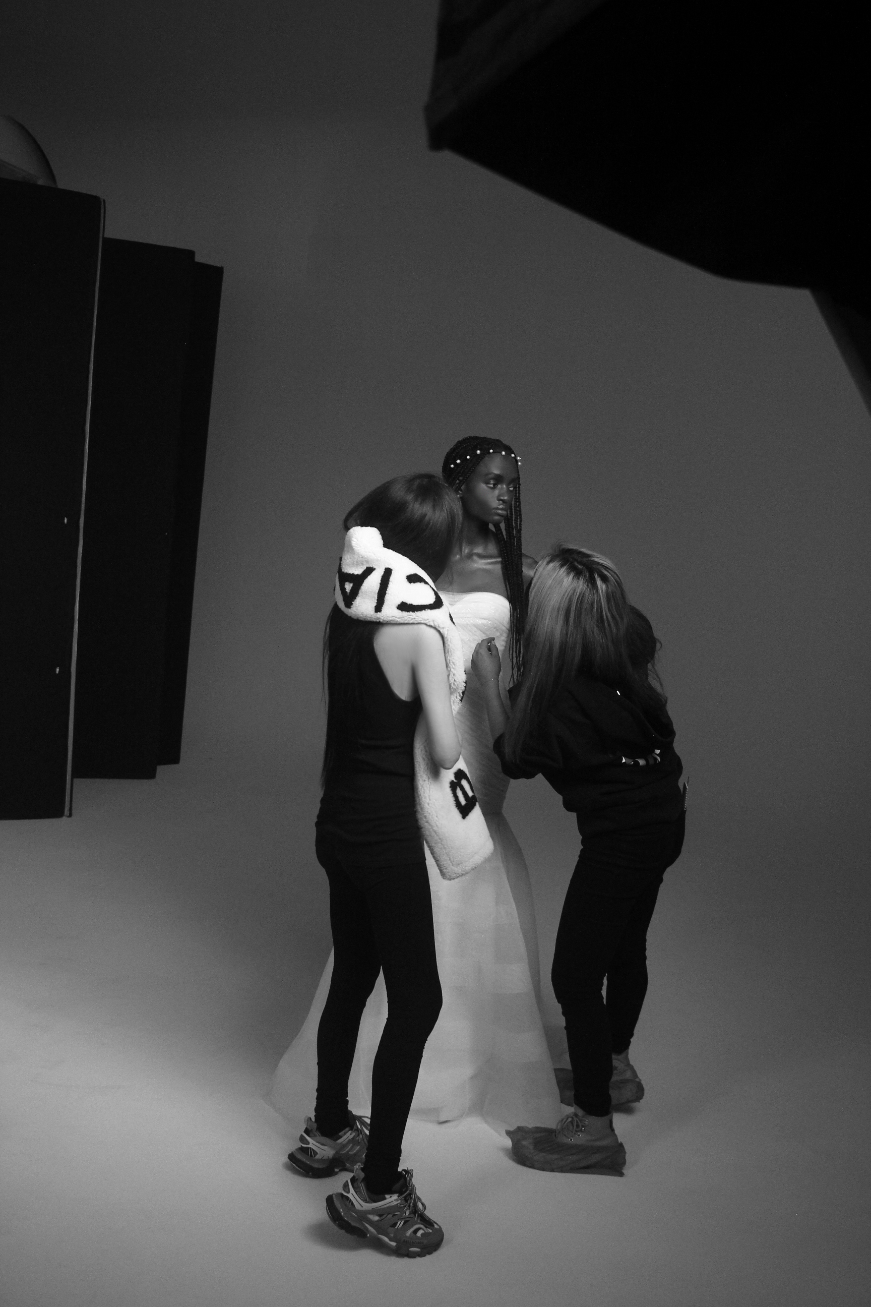Vera Wang in the studio working on a Vera Wang Bride gown for Pronovias.