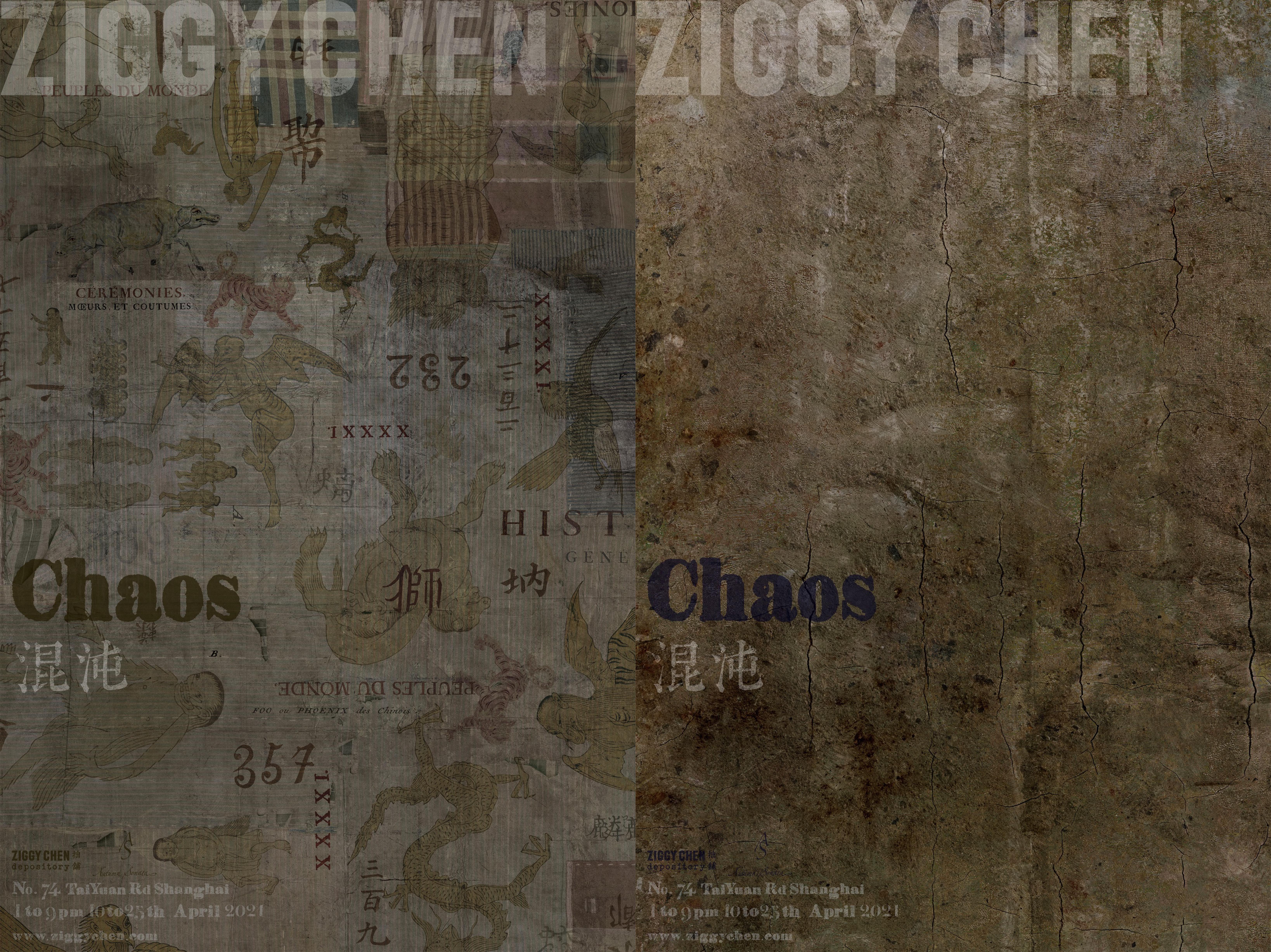 Affiches d'exposition réalisées avec des détails imprimés des collections précédentes de Ziggy Chen.