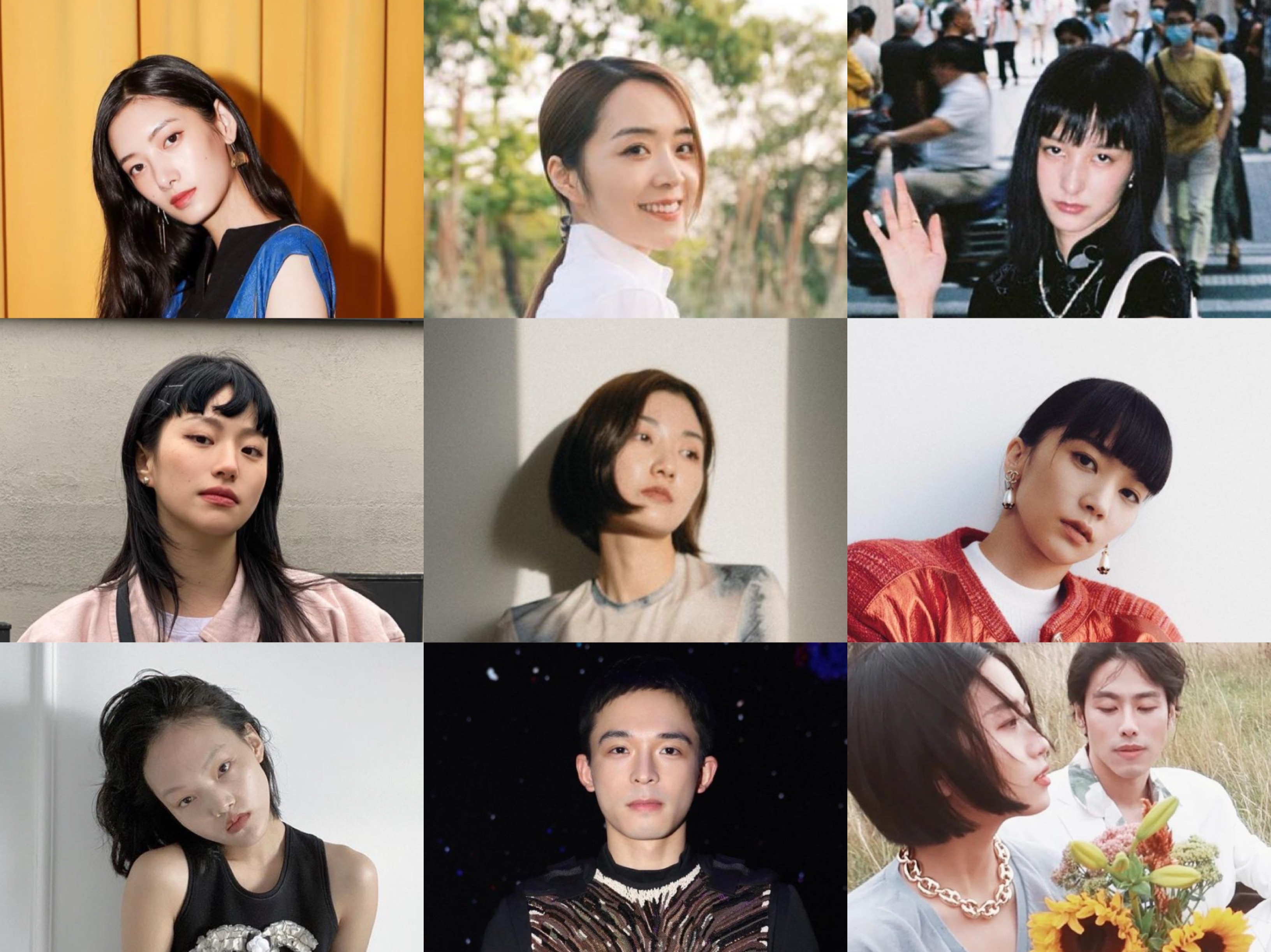 Emerging Chinese fashion influencers. Top row, from left to right, Cici Xiang, Candice Yu, Yueyi Wang. Middle row, from left to right, He Huixiang, Savi Sui, Meng-ke Wu. Bottom row, from left to right, Pan Haowen, Gong Linxuan, Aha Lolo's Meng Zhang and Pablo Zhang.